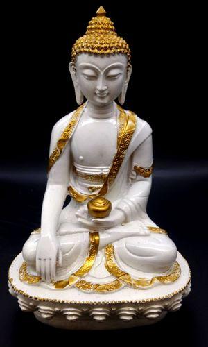 Statua in resina Buddha e ciotola su base bianca 28cm