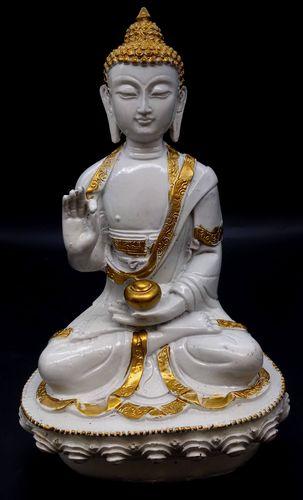 Statua Salueur Buddha in resina su base bianca 28cm