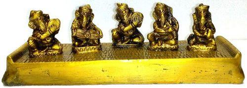 Conjunto de estatua de resina de Ganesh Gold 23cm