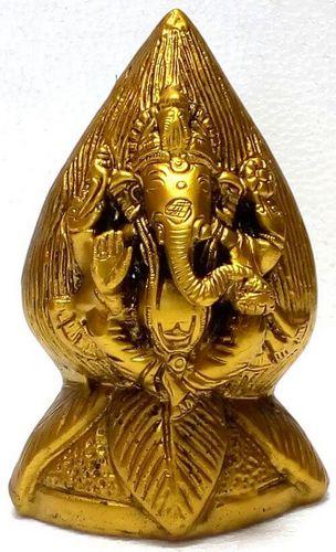 Estatua de resina Ganesh en Lotus Gold 12cm