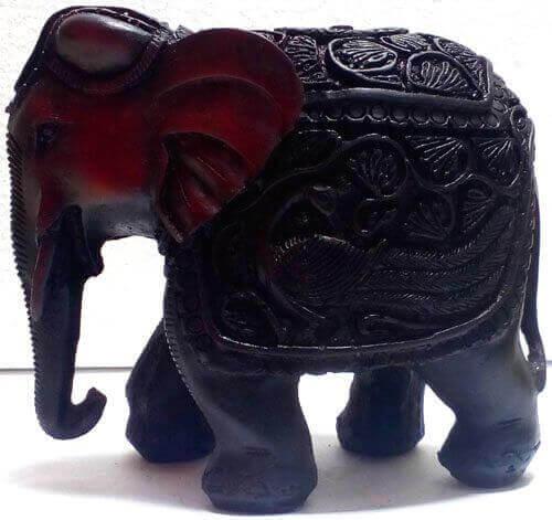 Antigua estatua de resina de elefante 12cm