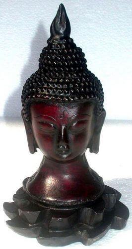 Estatua antigua de resina de Buda de loto 17cm