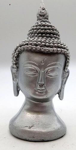 Estatua de resina busto buda plata 13cm