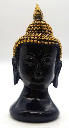 Statua in resina Busto Buddha nero 13cm