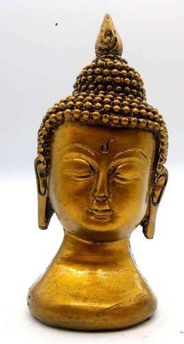 Statua in resina Busto Buddha in oro 13 cm