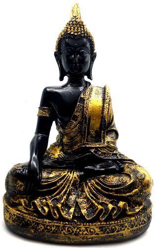 Estatua de resina Buda Meditación Negro y dorado 28cm