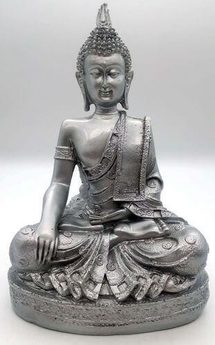 Estatua Resina Buda Meditación Plata 28cm
