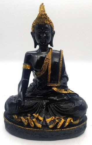 Statua in resina Buddha Meditation Black 28cm