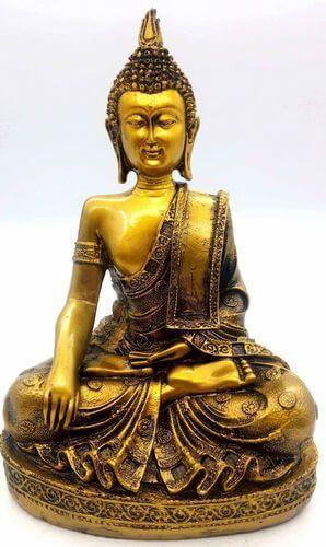 Estatua Resina Buda Meditación Oro 28cm