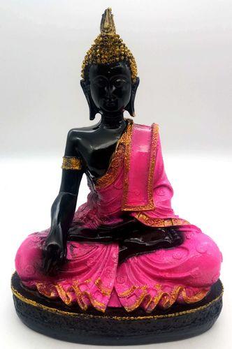 Estatua resina Buda meditación 28 cm rosa