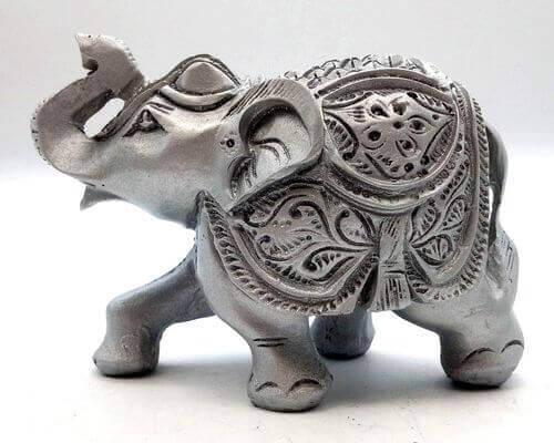 Estatua de resina de elefante de plata 10cm