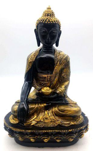 Estatua de resina Buda y Cuenco Negro y Oro 28cm