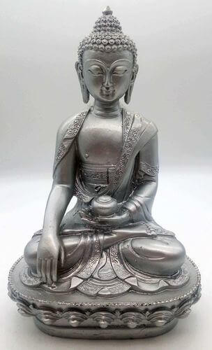 Estatua de resina Buda y cuenco de plata 28cm