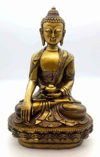 Estatua de resina Buda y cuenco dorado 28cm