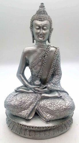 Estatua de Buda de resina de meditación y tazón de plata 28 cm