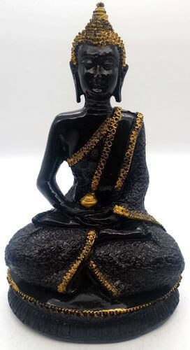 Estatua de resina Buda Meditación y Cuenco Negro 28cm