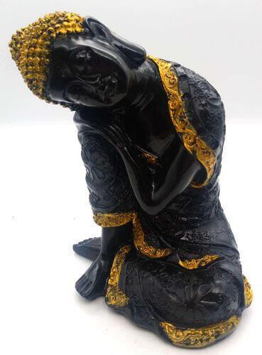 Statua di Buddha in resina che si trova sul ginocchio nero 28 cm