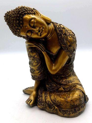 Statua in resina Buddha sdraiata sul ginocchio in oro 28cm