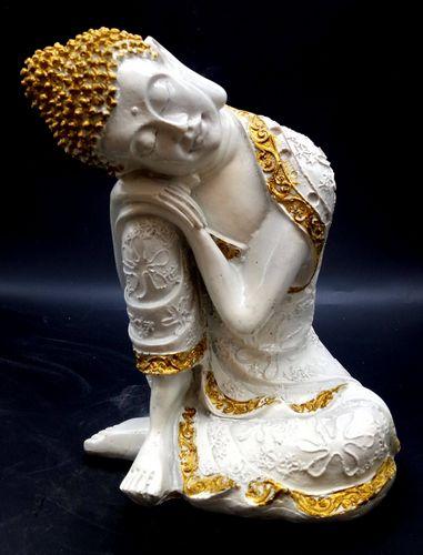 Statua in resina Buddha disteso su un ginocchio bianco 28 cm