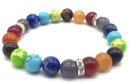 Bracelet 7 chakras 1-mix  perles 8mm