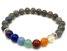 Bracelet ''Blue Light'' Labradorite & 7 Chakras perles 8mm