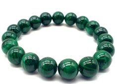 Bracelet 'Dark Green' Malachite perles 10mm