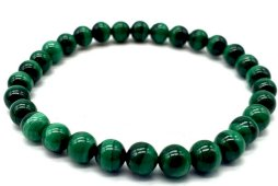 Bracelet 'Light Green' Malachite perles 6mm